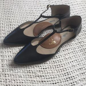 Boden 11 Black & Blue T-Strap Pointed Toe Shoes
